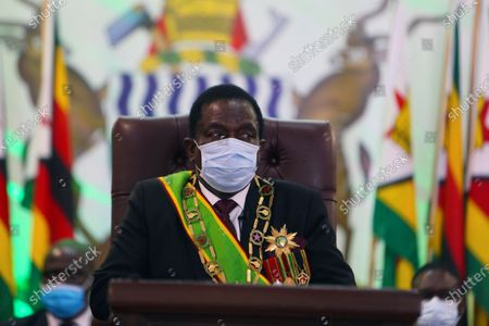 Zimbabwean President Emmerson Mnangagwa prepares to deliver his speech at State House in Harare, . Mnangagwa officially opened the third session of the ninth parliament where he urged Zimbabweans not to be complacent due to the low positive cases of COVID-19 currently been recorded across the country