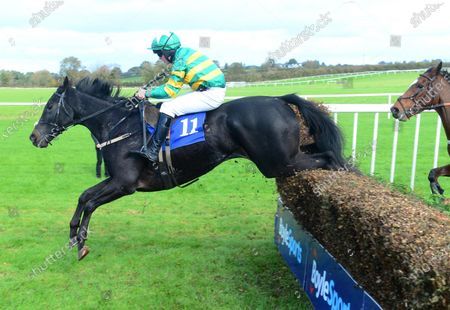 Thurles STEER CLEAR and Aidan Kelly jump the last to win the Thurles Races Handicap Steeplechase. Healy Racing