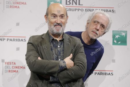 """Actor Javier Camara, left and Director Director Fernando Trueba pose for photographers during the photo call for the movie """"El olvido que seremos"""" (Forgotten We'll Be)"""" at the Rome Film festival in Rome"""