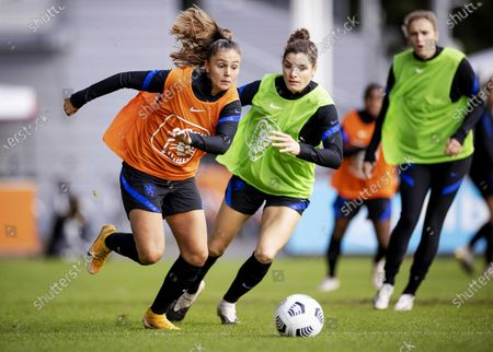 Lieke Martens (L) and Dominique Janssen during their training in Zeist, The Netherlands, 22 October 2020. The Dutch women's football team is preparing for the European Championship qualifying match against Estonia.