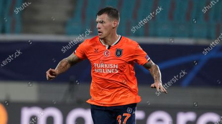 Stock Photo of Basaksehir's Martin Skrtel runs during the Champions League group H soccer match between RB Leipzig and Basaksehir Istanbul in Leipzig, Germany