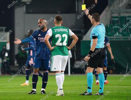 Yellow card to Alexandre Lacazette, Filip Stojkovic, Referee Pavel Kralovec,