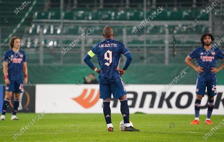 frustration of David Luiz, Alexandre Lacazette, Mohamed Elneny,