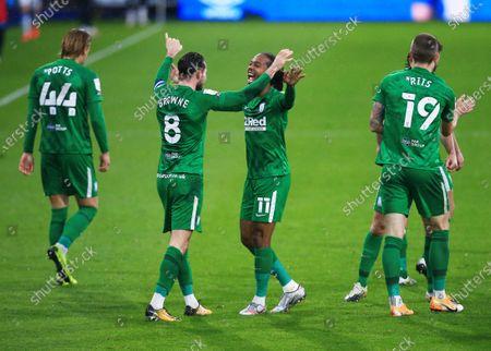 Alan Browne of Preston North End celebrates scoring a goal to make it 1-2 with Daniel Johnson