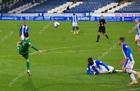 Alan Browne of Preston North End scores a goal to make it 1-2
