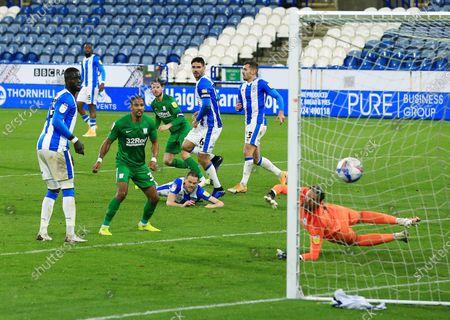 Alan Browne of Preston North End scores a goal to make it 1-1