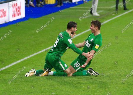 Alan Browne of Preston North End celebrates scoring a goal to make it 1-2 with Ryan Ledson