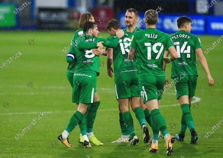 Alan Browne of Preston North End celebrates scoring a goal to make it 1-1 with his team-mates