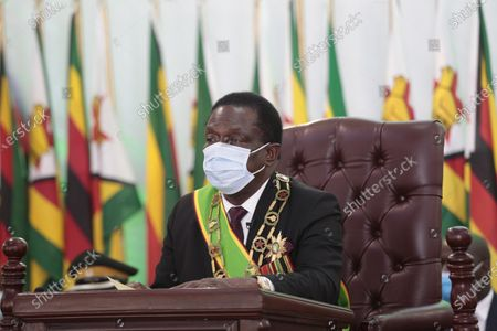 Zimbabwe President Emmerson Mnangagwa delivers the State of the Nation address and officially opened the third session of the Ninth Parliament virtually, at the State House in Harare, Zimbabwe, 22 October 2020.