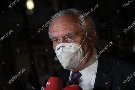 Jean-Pierre Raffarin at the end of the National tribute to the memory of Samuel Paty, professor of history and geography, killed on October 16, 2020 in Conflans Ste Honorine, on Wednesday October 21 at the University of the Sorbonne in Paris.