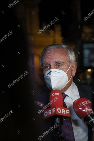 Stock Image of Jean-Pierre Raffarin at the end of the National tribute to the memory of Samuel Paty, professor of history and geography, killed on October 16, 2020 in Conflans Ste Honorine, on Wednesday October 21 at the University of the Sorbonne in Paris.