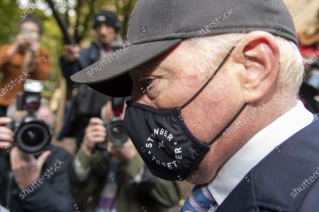 Former tennis professional Boris Becker (52), wearing a facemask leaves Southwark Crown Court after a Plea and Trial Preparation where he faces charges of failure to comply with a legal obligation to disclose financial information when filing for bankruptcy in 2017 including a number of properties and bank accounts.
