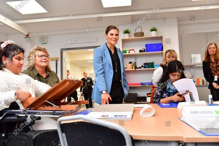 Crown Princess Victoria visits the Rinman special school in Eskilstuna, Sodermanland county.