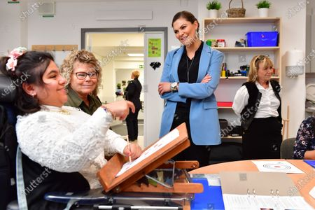 Crown Princess Victoria visits the Rinman special school in Eskilstuna, Sodermanland county. The Crown Princess has a chat with student Tebarek.