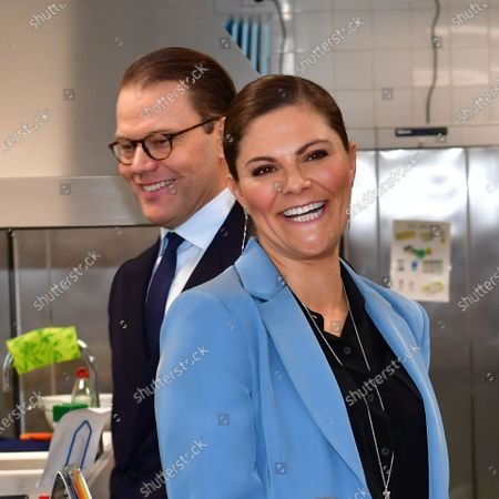 Crown Princess Victoria and Prince Daniel visit the Rinman special school in Eskilstuna, Sodermanland county.