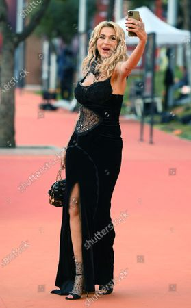 Valeria Marini arrives for the screening of 'Borat' at the 15th annual Rome International Film Festival, in Rome, Italy, 23 October 2020. The film festival runs from 15 to 25 October.
