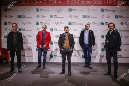 (from L to R) Josef Rouschop, Adamo Dionisi, Alessandro Tonda, Davide Orsini and Daniele Mazzocca during the photocall of the film ''The Shift'' at the 15th annual Rome International Film Festival, in Rome, Italy, 22 October 2020. The film festival runs from 15 to 25 October.