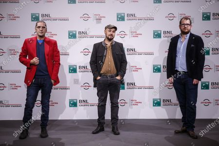 (from L to R) Adamo Dionisi, Alessandro Tonda and Davide Orsini, during the photocall of the film ''The Shift'' at the 15th annual Rome International Film Festival, in Rome, Italy, 22 October 2020. The film festival runs from 15 to 25 October.