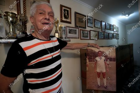 """Former Brazilian soccer player Antonio Schank Filho, 85, remembers his time as a player and the match in which soccer legend Pele scored his first goal, during an interview with Efe at his home in Sao Bernardo do Campo, near from Sao Paulo, Brazil, 21 October 2020 (issued 22 October). The first page of Pele's reign was written on 07 September 1956. That day, a holiday in Brazil, a 15-year-old boy made his debut with the Santos first team in a stadium that does not exist today and scored his first goal: """"Nobody  imagined he was going to be the best in the world, """"recalls one of his rivals. His debut was in a friendly against Corinthians de Santo Andre. Antonio Schank Filho, at the time steering wheel of that modest club in the metropolitan region of Sao Paulo, still remembers in detail the goalscoring baptism of Edson Arantes do Nascimento, who will turn 80 this Friday."""