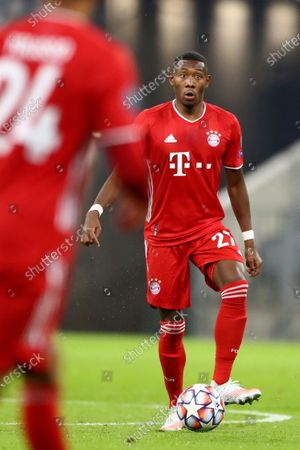 Stock Picture of Bayern's David Alaba controls the ball during the Champions League Group A soccer match between Bayern Munich and Atletico Madrid at the Allianz Arena in Munich, Germany