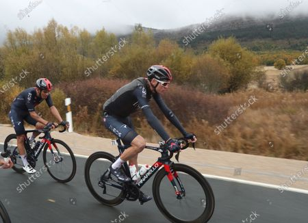 Stock Picture of British rider Christopher Froome (R) of Ineos in action during the third stage of the Vuelta a Espana 2020 cycling race over 168.1 km between Losada and Laguna Negra de Vinuesa in Navarre region, northern Spain, 22 October 2020.