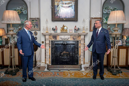 Stock Image of Prince Charles meeting Iraqi Prime Minister Mustafa al-Kadhimi at Clarence House, central London.