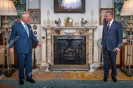 Prince Charles meeting Iraqi Prime Minister Mustafa al-Kadhimi at Clarence House, central London.
