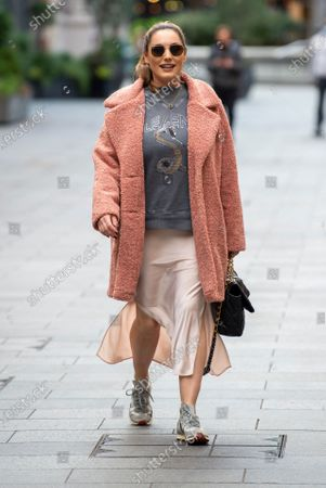 Kelly Brook seen arriving at the Global Radio Studios for her Heart radio show.