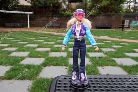 Stock Photo of The new Elton John Barbie doll is seen in East Rutherford, New Jersey, on