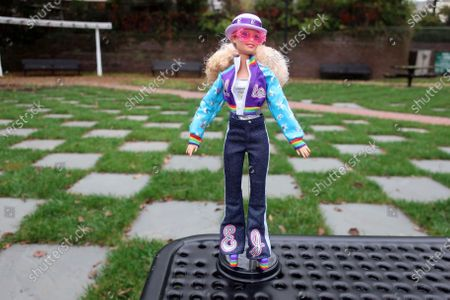The new Elton John Barbie doll is seen in East Rutherford, New Jersey, on