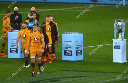 Stock Photo of Joe Launchbury of Wasps walks off dejected after collecting his runners up medal