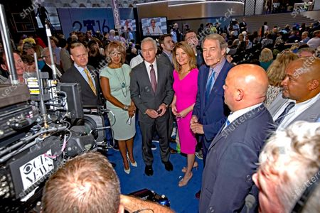 L-R CBS television news anchors John Dickerson, Gayle King, Scott Pelly, Norah O'Donnell and Charlie Rose at the Democratic National Nominating Convention