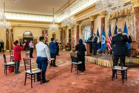Editorial image of Pompeo Immigration, Washington, United States - 22 Oct 2020