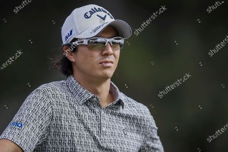 Ryo Ishikawa of Japan on the tenth tee during the first round of the Zozo Championship PGA Tour golf tournament at the Sherwood Country Club in Thousand Oaks, California, USA, 22 October 2020.