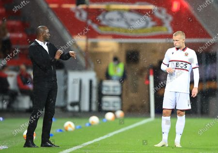 Stock Picture of Nice coach Patrick Vieira (L) talks to his player  Kasper Dolberg during the UEFA Europa League soccer match between Bayer Leverkusen and OGC Nice, in Leverkusen, Germany, 22 October 2020.