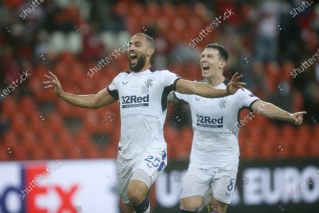 Rangers' Kemar Roofe, left, jubilates with teammates after scoring his sides second goal during a Europa League Group D soccer match between Standard Liege and Rangers at the Maurice Dufrasne stadium in Liege, Belgium