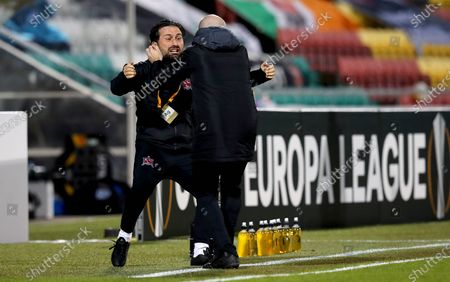 Dundalk vs Molde. DundalkÕs assistant coach Giuseppe Rossi and opposition analyst Shane Keegan celebrate their sideÕs first goal of the game