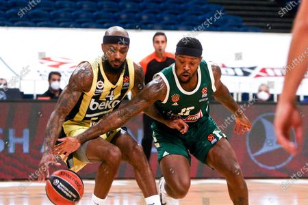 Panathinaikos'  Marcus Foster (R)  in action with Fenerbahce's Lorenzo Brown (L) during the Euroleague Basketball match between Panathinaikos OPAP Athens and Fenerbahce Beko Istanbul held at OAKA in Athens, Greece, 22 October 2020.