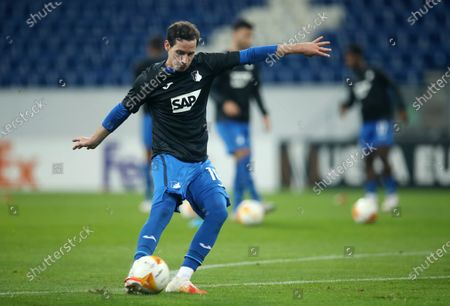 Sebastian Rudy of TSG 1899 Hoffenheim warms up before the UEFA Europa League Group L soccer match between TSG Hoffenheim and Crvena Zvezda at PreZero-Arena in Sinsheim, Germany, 22 October 2020.