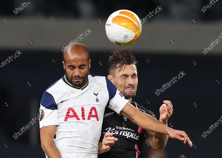 Lucas Moura (L) of Tottenham in action against James Holland (R) of LASK during the UEFA Europa League group J soccer match between Tottenham Hotspur and LASK in London, Britain, 22 October 2020.