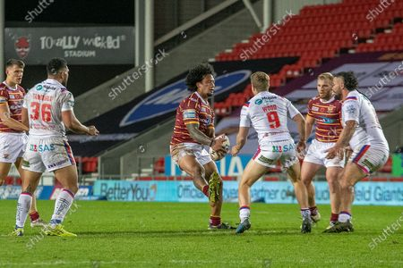 James Gavet of Huddersfield during the Betfred Super League match between Wakefield Trinity Wildcats and St Helens RFC at Totally Wicked Stadium, St Helens
