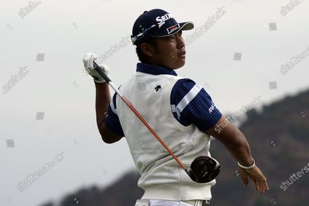 Hideki Matsuyama hits from the 10th tee during the first round of the Zozo Championship golf tournament, in Thousand Oaks, Calif