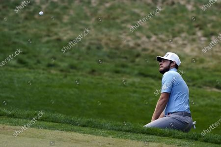 Tyrrell Hatton hits to the 17th green during the first round of the Zozo Championship golf tournament, in Thousand Oaks, Calif