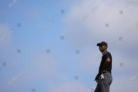 Stockabbildung von Tiger Woods looks on from the 13th fairway during the first round of the Zozo Championship golf tournament, in Thousand Oaks, Calif