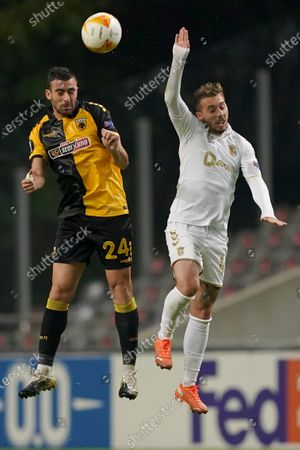 Stock Photo of Sporting de Braga´s Medeiros (R) in action against AEK Athens´s Stratos Svarnas during the UEFA Europa League group G soccer match Sporting de Braga vs AEK Athens held in Braga, Portugal, 22 October 2020.