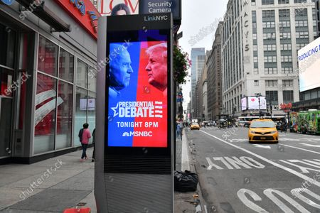 NYC sign announces the final 2020 Presidential Debate between Vice President Joe Biden and Donald Trump on MSNBC