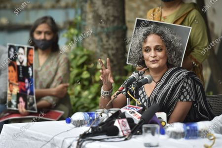 Writer Arundhati Roy addresses the media on the Supreme Court's recent statements on public protests, at Press Club of India on October 22, 2020 in New Delhi, India.