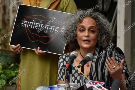 Booker Price winner Arundhati Roy address press conference on For Our Right to Protest on October 22, 2020 in New Delhi, India.