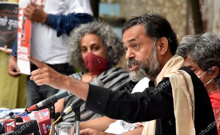 Yogendra Yadav address press conference on For Our Right to Protest in the presesnce of Arundhati Roy on October 22, 2020 in New Delhi, India.