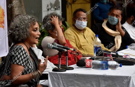 Booker Price winner Arundhati Roy address press conference along with Nivedita Menon, Bezwada Wilson, and Yogendra Yadav on For Our Right to Protest on October 22, 2020 in New Delhi, India.